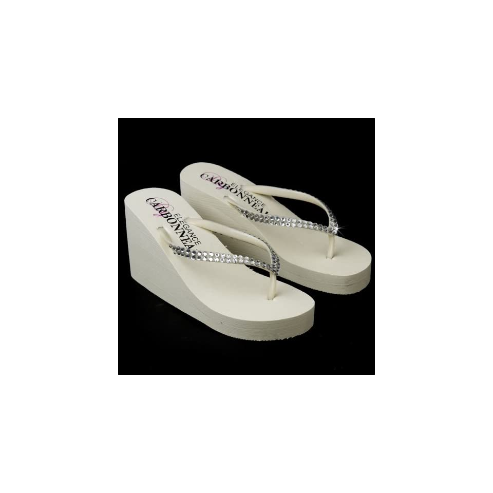 ff096b74f Ivory Size 8 Crystalized Bridal Flip Flops for Wedding Reception on ...