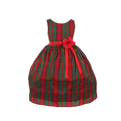 Cinderella Couture Little Girls Red Green Checker Print Occasion Dress 2-6