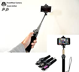 Selfie Stick Monopod Ultra-light Foldable Bluetooth Detachable Remote Control (Front/Back Camera + Zoom in and out) , Extend up to 3 Ft (Gold) - 2016 Model