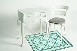 NEW Oriental Mats Tile Rug Carpet PVC Vinyl Floor Door Cleanable For Bedroom, Kitchen, Salon and Living Room, Home Decoration, Tiva Design 203, Amazing Gift (80X60cm)