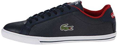 Lacoste Men's Grad Vulc TS Casual Shoe Fashion Sneaker, Dark Blue/Red, 10.5 M US