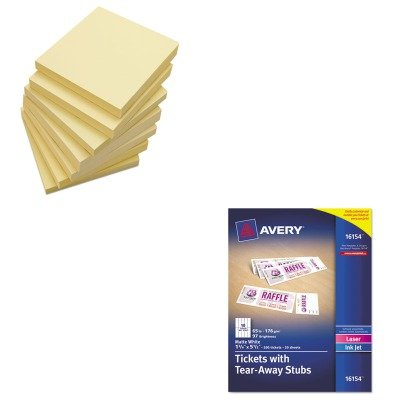 KITAVE16154UNV35668 - Value Kit - Avery Printable Tickets w/Tear-Away Stubs (AVE16154) and Universal Standard Self-Stick Notes (UNV35668) (Avery Printable Tickets compare prices)