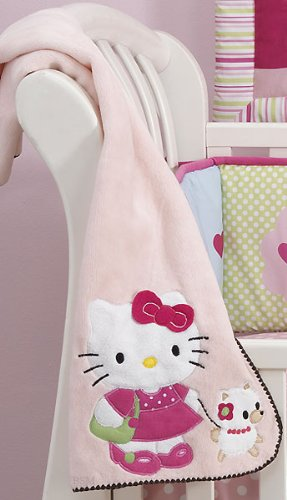 Bedtime Originals Hello Kitty and Puppy Fleece Blanket with Applique - Pink