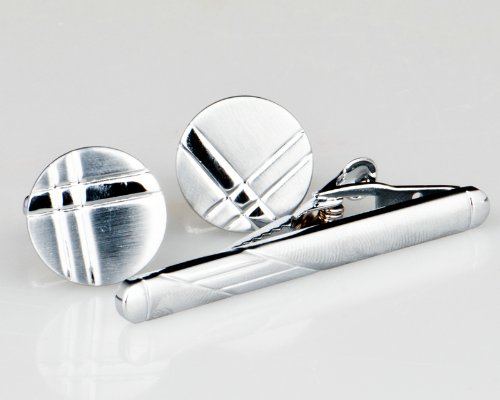 Lodestar Silver Milky Way Circular X-Factor Cufflink & Tieclip Set with Gift Box (ACT-43)