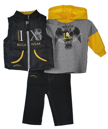 "Rocawear ""The Rocawear Code"" 3-Piece Outfit (Sizes 0M - 9M) - heather gray, 3 - 6 months"