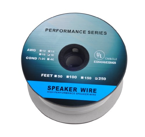 C&E 250 Feet 18Awg Cl2 Rated 2-Conductor Loud Speaker Cable (For In-Wall Installation)