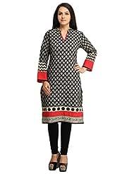 Designer Black Grey Printed Cotton Kurti For Women Free Size