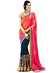 Sky Global Women's Orange&Blue Chiffon Saree With Unstitched Blouse (Orange&Blue_Saree_2045)