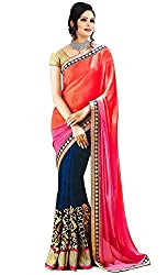 Hari Krishna Sarees Blue Pink and orange sadded saree