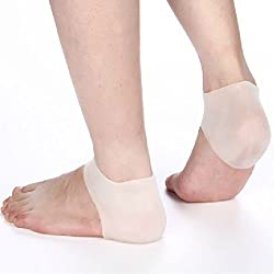 1 Pair Heel Unisex White Silicone Gel Heel Soft Socks Dry Hard Cracked Skin Moisturising Protector Insoles Foot Feet Care