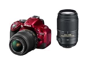 Nikon デジタル一眼レフカメラ D5200 ダブルズームキット AF-S DX NIKKOR 18-55mm f/3.5-5.6G VR/ AF-S DX NIKKOR 55-300mm f/4.5-5.6G ED VR レッド D5200WZRD
