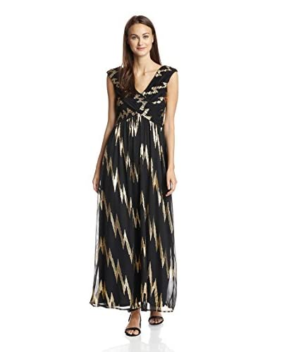 Sangria Women's Printed V-Neck Gown