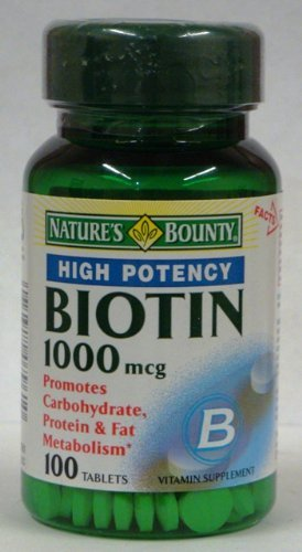 Nature'S Bounty High Potency Biotin 1000 Mcg, 100 Tablets (Pack Of 3) Total Of 300 Tablets