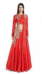 TexStile women's Red Banglory Silk Semi Stitched Embroidery Lehenga Choli