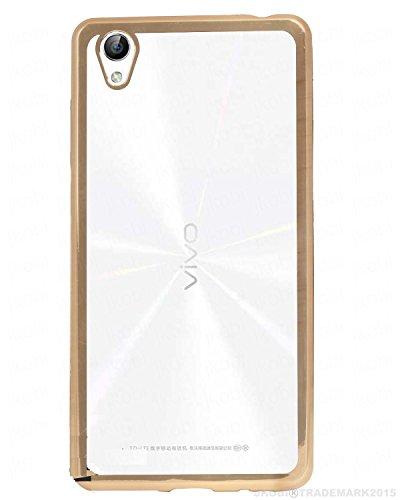 Vivo Y51L Golden Edge TPU Transparent Back Cover Case - Scudomax Branded - For Vivo Y51L - Gold Cover