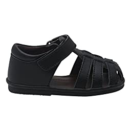 Angel Baby Boys Black Fisherman Velcro Strap Bow Sandals Shoes 5 Toddler