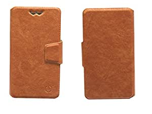 J Cover Eleaf Series Leather Pouch Flip Case With Silicon Holder For Alcatel Pop 4S Brown