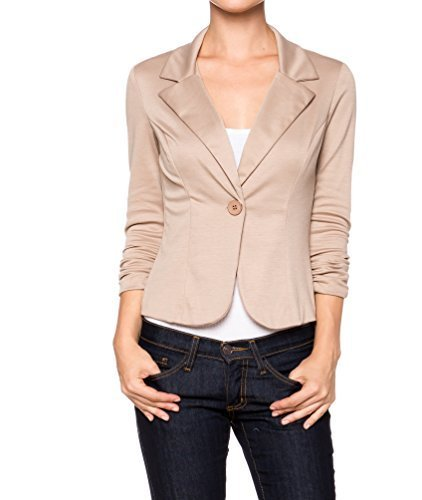 [A.S Juniors Casual Three Quarter Sleeve Fitted Blazer (Large, Khaki)] (Daria Costume)