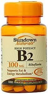 Sundown Naturals High Potency B2, Riboflavin,100 mg, 100 Tablets (Pack of 4)