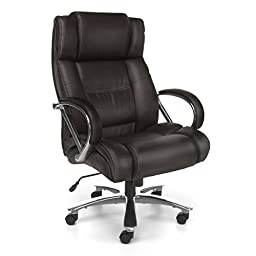 OFM Avenger Series Big and Tall Leather Executive Swivel Chair with Arms, Brown/Chrome
