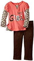 Young Hearts Girls 2-6X 2 Piece Sweet Girl Shirt and Pant, Orange, 3T