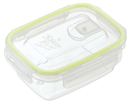 Lustroware A-2160Ag Smart Flap And Locks Food Container, 13.5-Ounce, Green