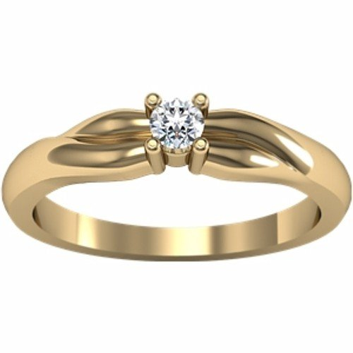 14K Yellow Gold Solitaire Diamond Ring - 0.10 Ct. - Size 8