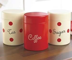 Set Of 3 Red Cream Spotty Tea Coffee Sugar Tins