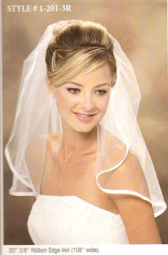 1 Layer Shoulder Length Veil w/ Ribbon Edge