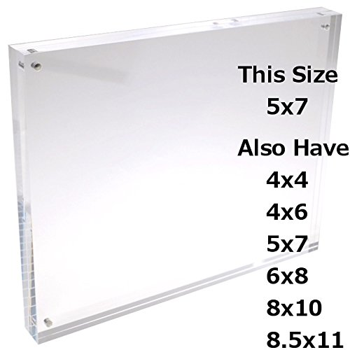 5x7 Clear Acrylic Picture Frame; Magnetic Acrylic Photo Frames, Thick Desktop Frames (5x7 Inches)