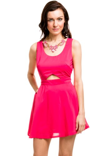 Flirt Lattice Cut Out Dress In Fuschia Pink