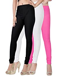 Fashion And Freedom Women's Pack Of 3 Black,White And Pink Satin Leggings