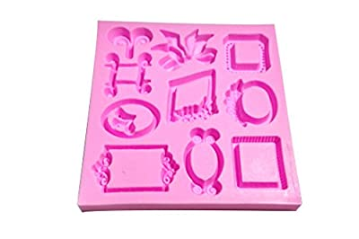 Wocuz MK564 Silicone Picture Frame Shapes Fondant Mold Candy Making Mold Cake Decoration Gum Mould