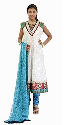 Missprint Off White Chanderi Cotton Anarkali Churidar Kameez