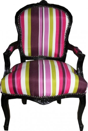 Casa Padrino Baroque Salon Chair Colorful Stripes / Black - Antique Style Furniture