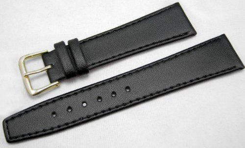 Black Leather Watch Strap Band With A Stitched Edging And Nubuck Lining 20mm