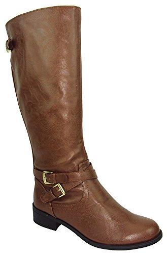 Soda Women Knee High Buckled Riding Small Heel Flat Boots Side Zipper Bio-S Light Brown Cognac 11