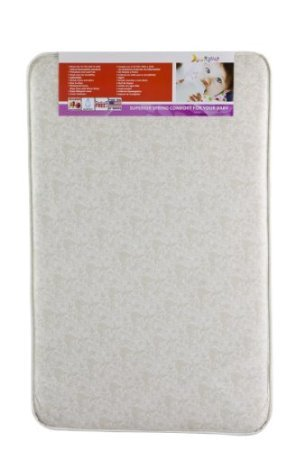 Dream On Me 3' Rounded Corner Playard Mattress, White/Brown front-788314