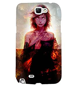 Fuson 3D Printed Girly Designer back case cover for Samsung Galaxy Note 2 - D4622