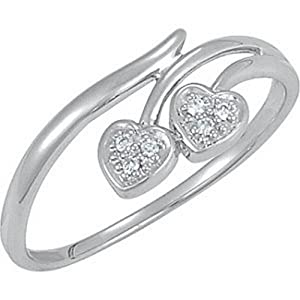 IceCarats Designer Jewelry Sterling Silver .03 Ctw Diamond Heart Ring Size 7