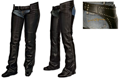 Milwaukee Motorcycle Clothing Company Ladies Chaps with Studs (Black, Large)