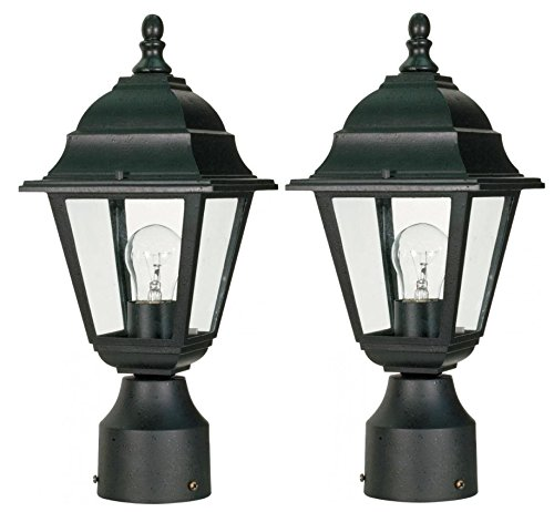 nuvo-60-548-textured-post-lantern-with-clear-glass-textured-black-black-2-pack