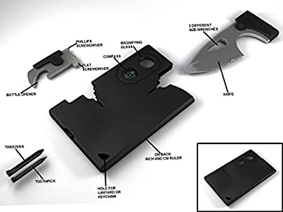 Multi Tool : This Wallet Sized Multifunction Survival Pocket Tool Brings You a Whole Lot of Functionality Without a Whole Lot Size All backed with a lifetime guarantee by Holtzmans Gorilla Survival