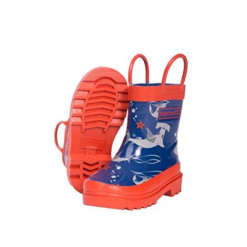 Target Dry Oscar - Stivali in Gomma con Fantasia di Squali - Bambino (25 EU) (Navy/Arancione)