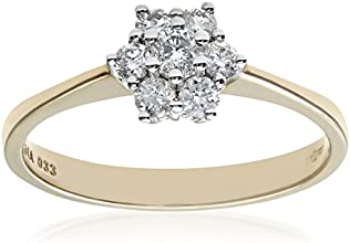 Naava 9ct Yellow Gold Diamond Cluster Women's Ring