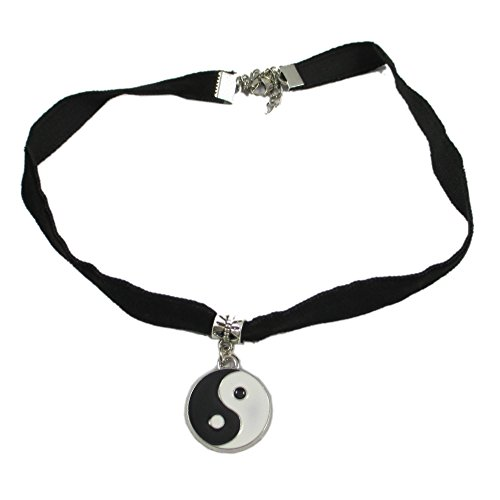 Hip Mall Black Velvet Choker Necklace w/ Enamel Ying & Yang Charms Pendant - 1