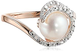 10k Rose Gold Cultured Freshwater Pearl and Diamond Ring (0.1Cttw, G-H Color, I2-I3 Clarity), Size 6