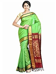 Anagha Handloom Kanjivaram Silk-Cotton Saree - Parrot Green