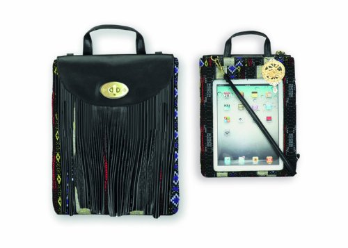 Apple Ipad Messenger Bag/Case With Black Navajo Design