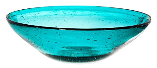 Teal Glass Tabletop Serving Bowl